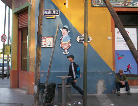 The colorful Magallanes street in the La Boca neighborhood of Buenos Aires