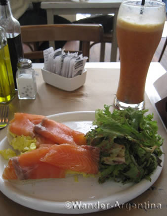 A brunch plate of fresh salmon and salad at B-blue Deli in Palermo, Buenos Aires