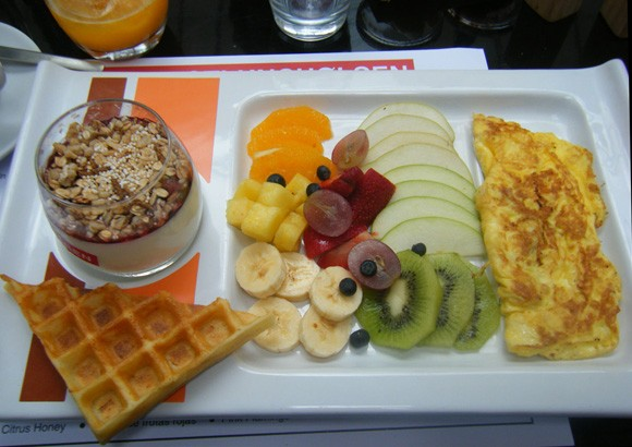 A brunch plate with waffles and fruit at Olsen Cafe in the Palermo neighborhood of Buenos Aires