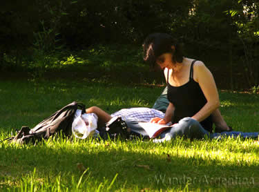 A woman reading in the park in Buenos Aires