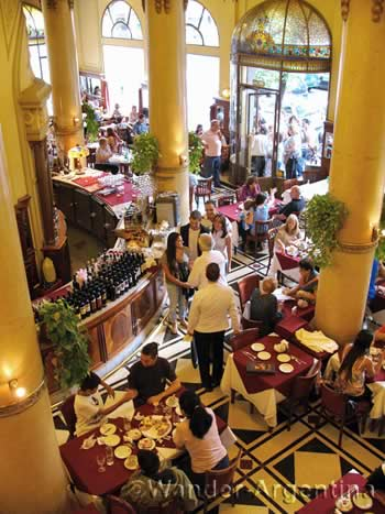 A birds eye view of the bustling, historic Las Violetas cafe