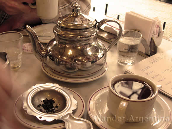 A silver tea table setting at Las violetas cafe