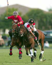Two polo players competing on the field in Buenos Aires