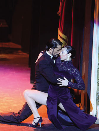 Tango dancers performing at the Piazzolla Tango Show in Buenos Aires