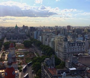 Congress square, Buenos Aires as see from above.