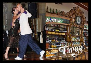 A couple dancing tango and the classic Buenos Aires' bar, El Federal in an ad for Wander Argentina's private tango tour