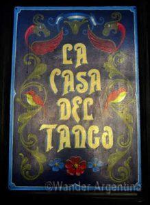 A Fileteo sign for the 'Casa de Tango' Tango Hall in Almagro