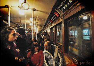 The interior of a Buenos Aires Line A subway car