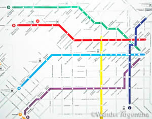 A picture of the Buenos Aires Subway map