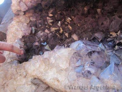A close-up of the semi precious stones in their natural state at Wanda Mines