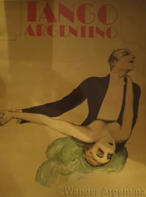 Old tango poster of a couple dancing from the World tango Museum