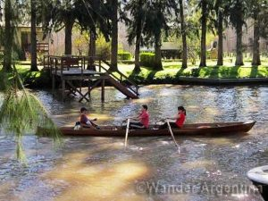Canoers on the Tigre Delta in greater Buenos Aires, Argentina