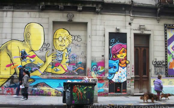 Graffiti covers a whole block in the San Telmo neighborhood of Buenos Aires