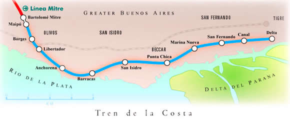 map of the Tren de la Costa