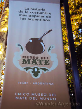 Sign for the mate museum in Tigre, Buenos Aires