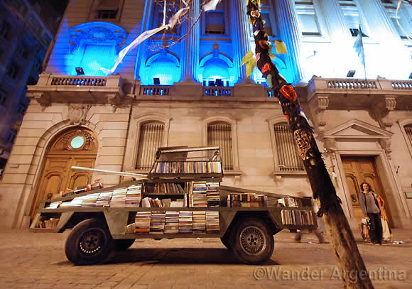 The 'Weapon of Mass Instruction,' an art car loaded with free books in front of the Buenos Aires City Legislature