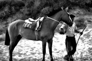 A guacho (cowboy) with his horse in Las Grutas, Argentina
