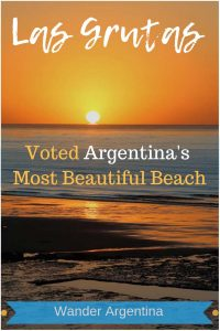 A sunset at Las Grutas, with the words 'Las Grutas: Voted Argentina's Most Beautiful Beach'