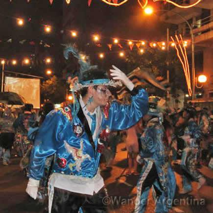 A murga man celebrating carnival in buenos aires