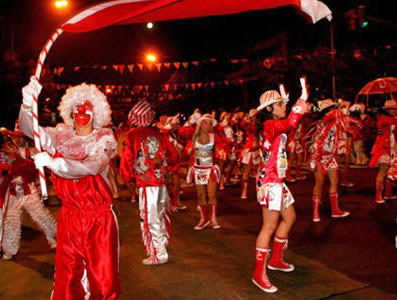 A murga or dance troop on the streets of Buenos Aires