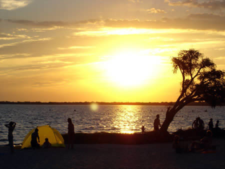 A beach on the river in Gualeguaychu, Entre Rios, Argentina