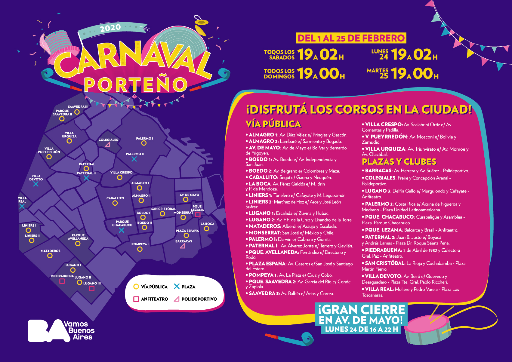 Carnival in Buenos Aires locations 2020 map