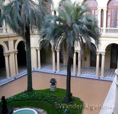 The Patio de las Palmas, or Palm Courtyard, also known as the Patio of Honor at the Casa Rosada in Buenos Aires, Argentina