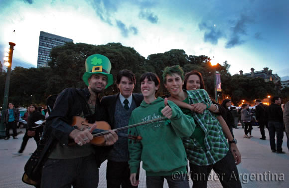 Young people celebrate St. Patrick's Day in Buenos Aires