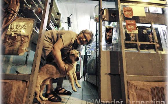 Señora and dog in a kiosk in Buenos Aires