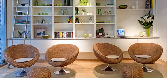 The library at Casa Calma Hotel in Buenos Aires, Argentina