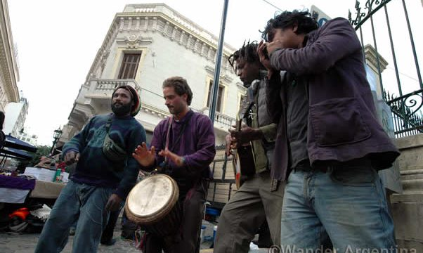 Impromtu street concert in San Telmo, Buenos Aires