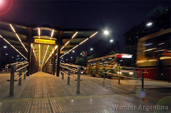 A Buenos Aires metrobus station on 9 de Julio street