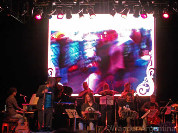 A tango orchestra performing live in Buenos Aires