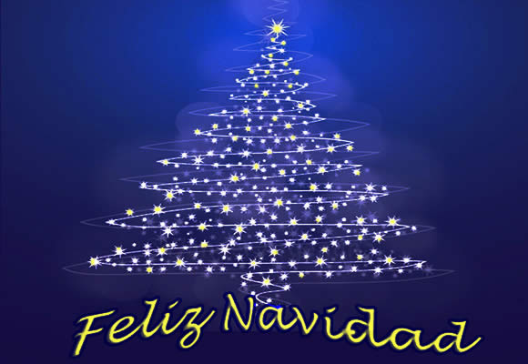 Feliz Navidad Merry Christmas card with a graphic of a Christmas tree