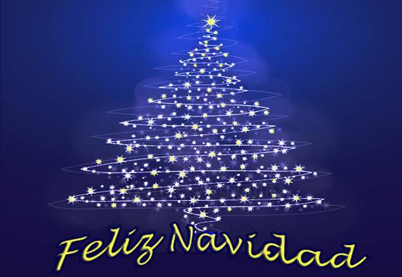 Feliz Navidad Merry Christmas card with a graphic of a Christmas tree