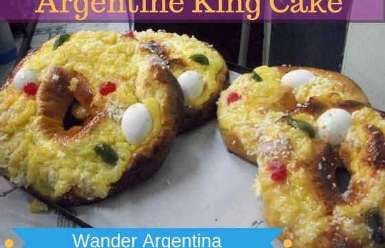 Rosca de Reyes, a ring-shaped 'Epiphany cake' as served on the Day of Kings on January 6 in Argentina. Round cake with whole eggs with the words, 'Argentine King Cake'.
