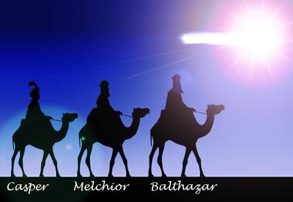 The three Kings, Casper, Melchior, and Balthazar on camel heading toward the star of Bethlehem