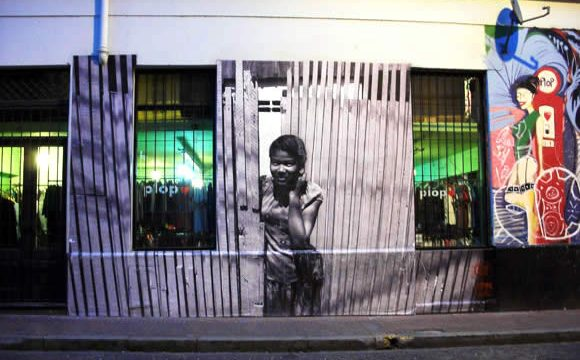 San Telmo Stencil on Pasaje Giuffra in San Telmo, Buenos Aires