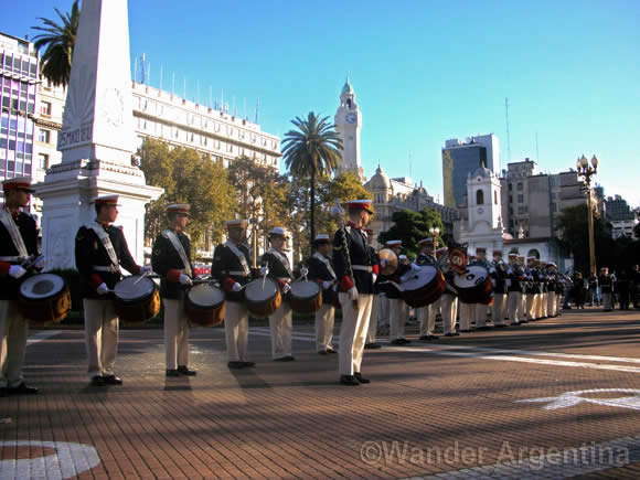 Military band of the National Military College of Argentina perform in the Plaza de Mayo