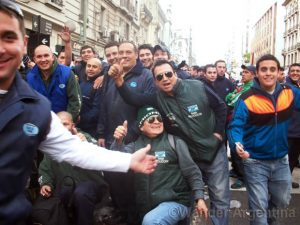 Protestors from CGT outside teh ANSES building on Ave Cordoba in BUenos Aires