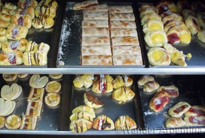 Facturas, or breakfast pastries, in an Argentine bakery