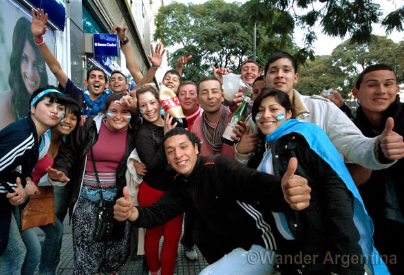 Young people in Buenos Aires celebrate during the Argentina versus Germany World Cup final