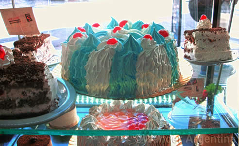 A blue and white cake made in honor of Argentina for the 2014 World Cup