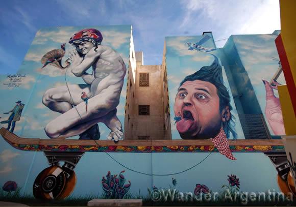 Buenos Aires mural, El cuento de los loros (Tales of the Parrots) by Argentine artist, Martin Ron