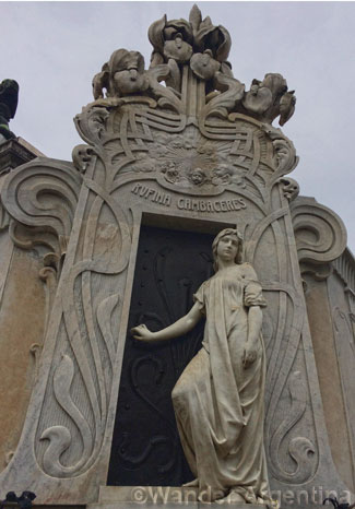 The grave of Rufina Cambaceres in Recoleta Cemetery in Buenos Aires, Argentina