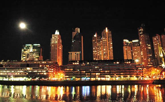 Puerto Madero, Buenos Aires under a full moon