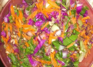 Argentine salad, arrugula, purple cabbage and carrot