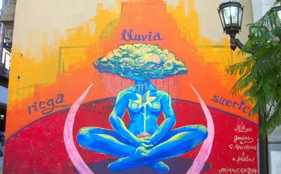 Lotus pose mural at Peru and Belgrano streets in Buenos Aires