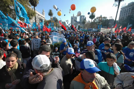 Crowds gather to celebrate in the Plaza de Mayo