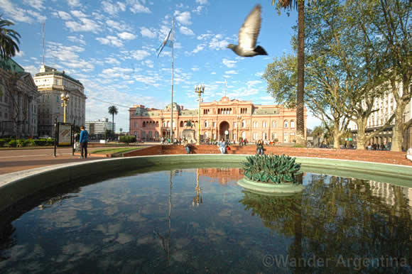 The Casa Rosada (Government House) as seen from the Plaza de Mayo